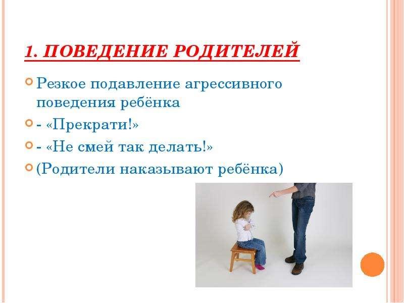1. Поведение родителей Резкое подавление агрессивного поведения ребёнка - «Прекрати!» - «Не смей так