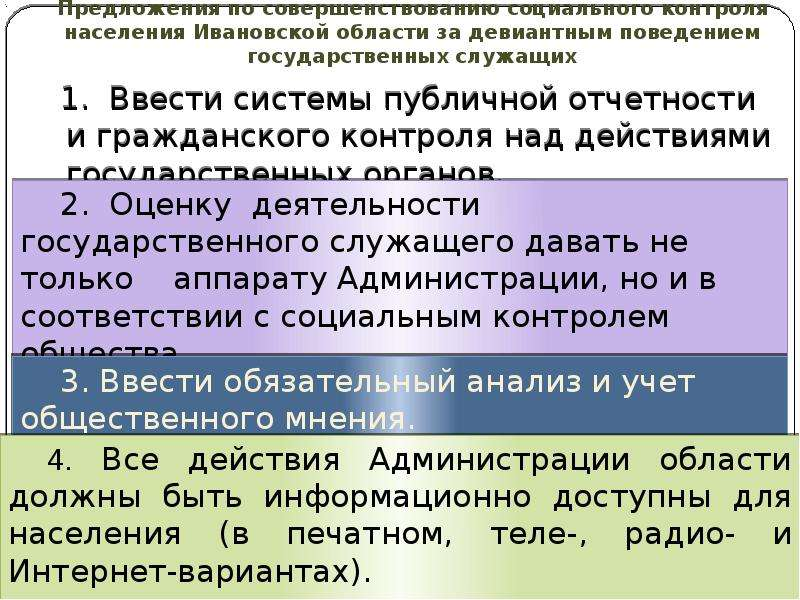 Предложения по совершенствованию социального контроля населения Ивановской области за девиантным пов