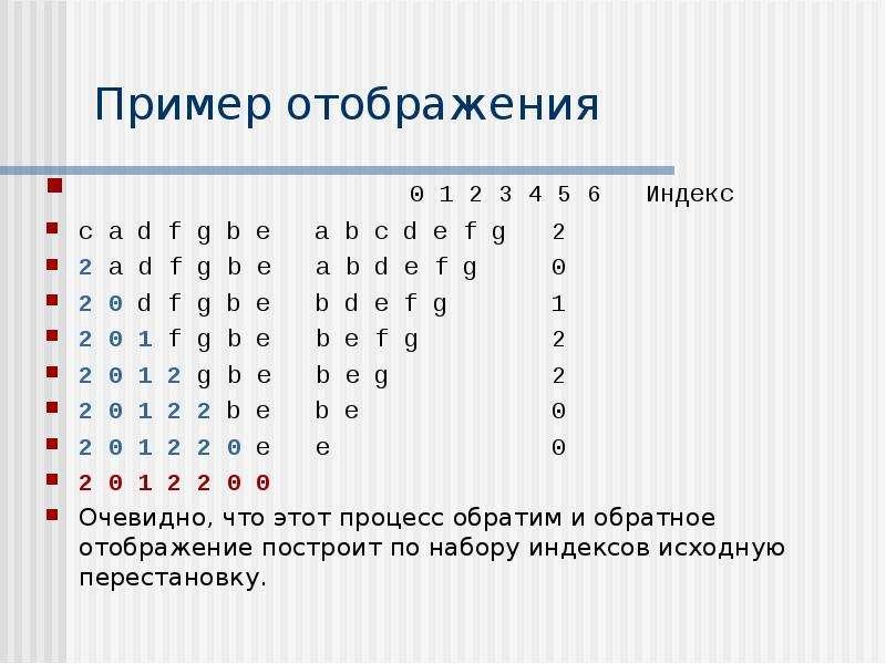 Пример отображения 0 1 2 3 4 5 6 Индекс c a d f g b e a b c d e f g 2 2 a d f g b e a b d e f g 0 2