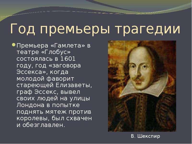 Год премьеры трагедии Премьера «Гамлета» в театре «Глобус» состоялась в 1601 году, год «заговора Эсс