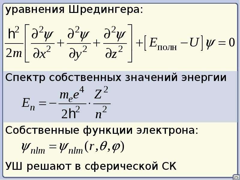 Из уравнения шредингера следует, что конкретный вид волновой функции зависит от потенциальной энергии u, те