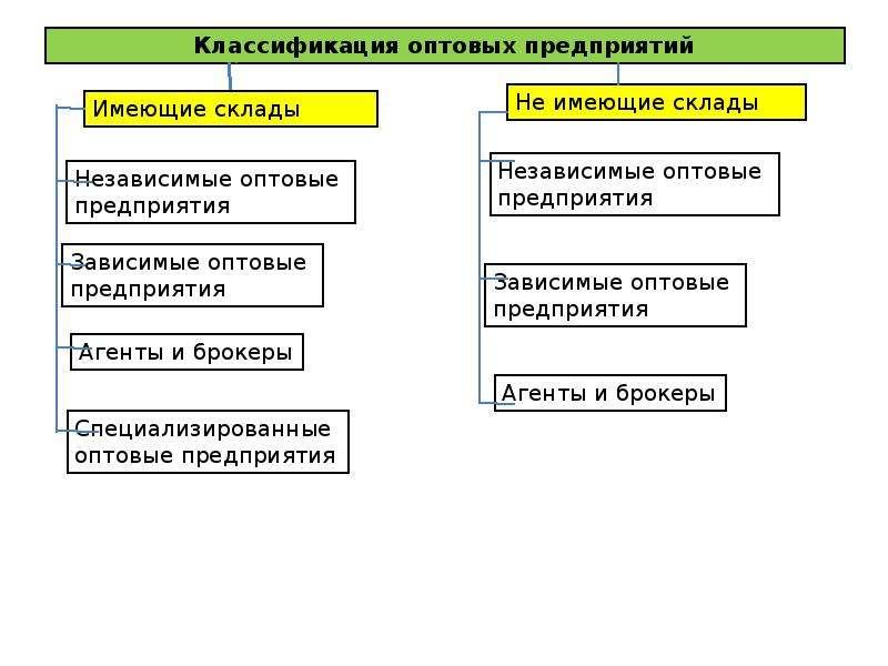 Классификация оптовых предприятий