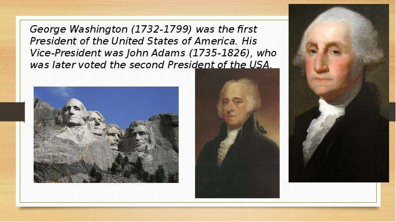a comparison of two presidents of the united states george washington and john adams Of the transition from george washington to john adams two terms, president washington had been able the president of the united states.