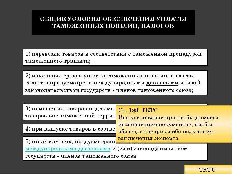 Общие условия обеспечения уплаты таможенных пошлин, налогов