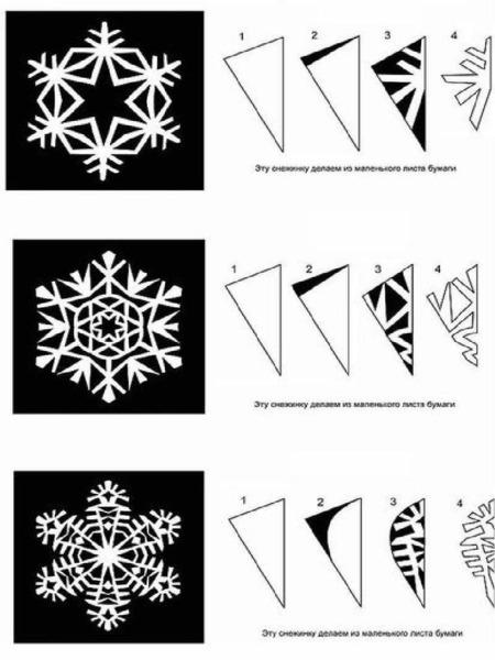 Схемы для вырезания снежинки