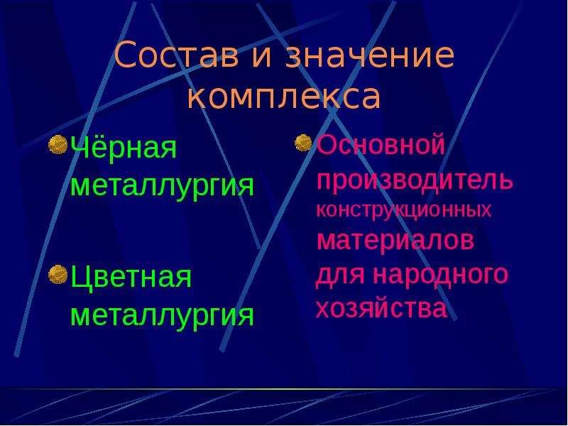 Состав и значение комплекса Чёрная металлургия Цветная металлургия