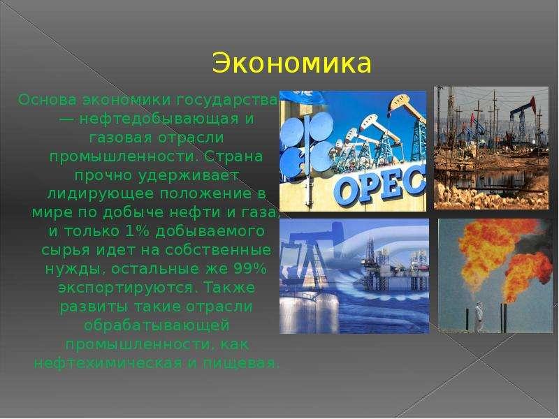 Экономика Основа экономики государства — нефтедобывающая и газовая отрасли промышленности. Страна пр