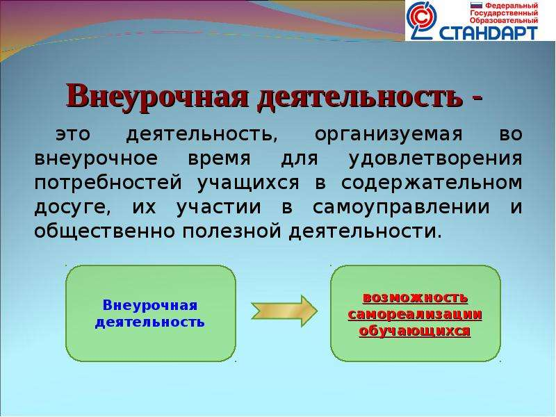 Внеурочная деятельность - это деятельность, организуемая во внеурочное время для удовлетворения потр