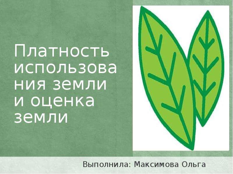 Презентация Платность использования земли и оценка земли Выполнила: Максимова Ольга