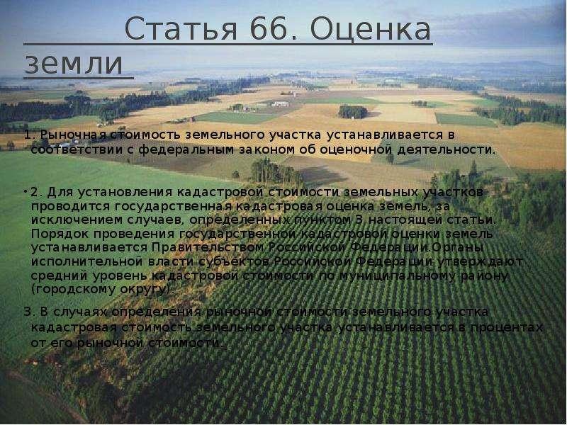 Статья 66. Оценка земли 1. Рыночная стоимость земельного участка устанавливается в соответствии с фе