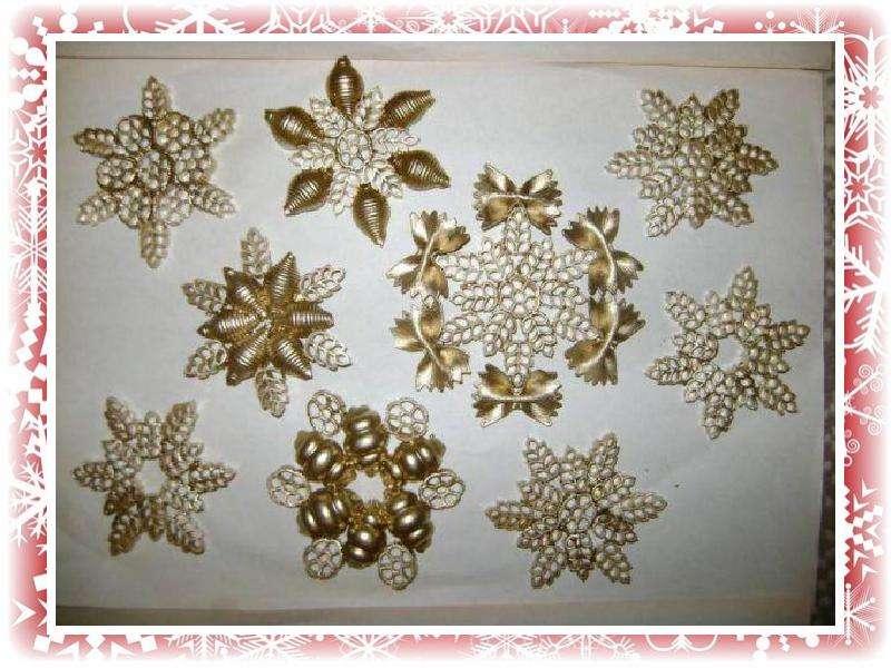 Снежинки своими руками фото из макарон