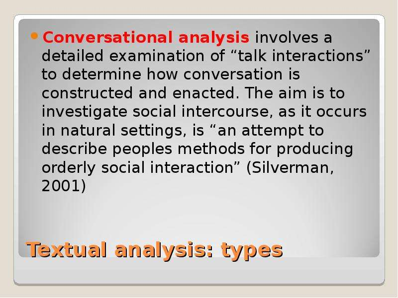 essays conversational analysis 7 transcribed conversation 8-9 abstract throughout this assignment we have tried to discuss about what is conversation analysis and also the different aspects of conversation analysis which are considered to get a idea about whether a conversation is meaningful or not.