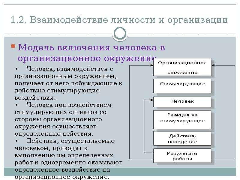 1. 2. Взаимодействие личности и организации Модель включения человека в организационное окружение