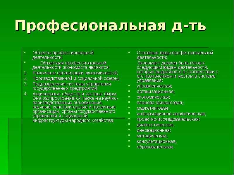 Професиональная д-ть Объекты профессиональной деятельности: Объектами профессиональной деятельности