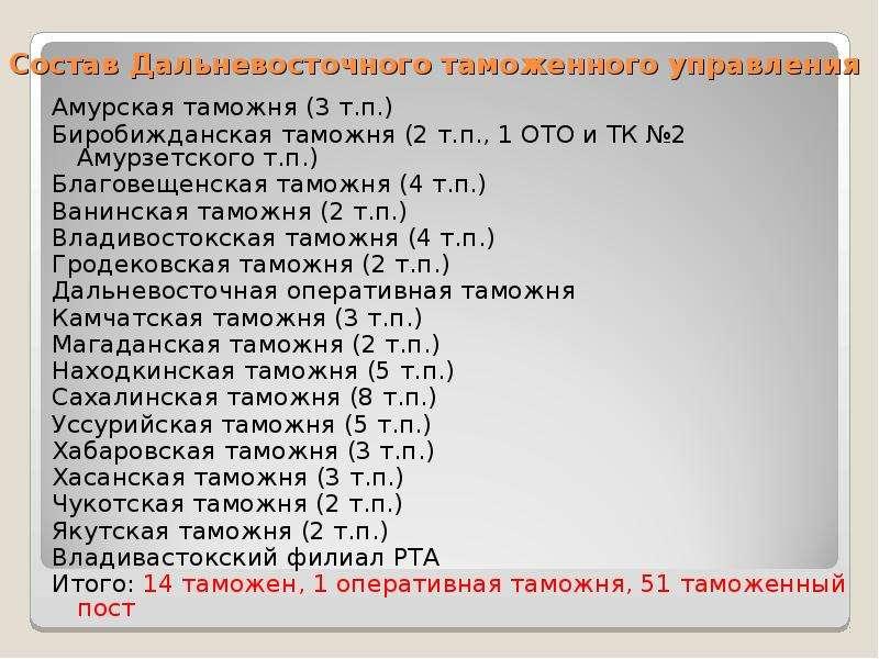 Состав Дальневосточного таможенного управления Амурская таможня (3 т. п. ) Биробижданская таможня (2