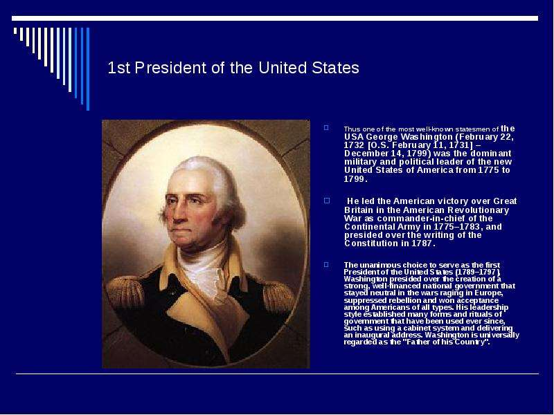 a biography of george washington 1st president of the united states