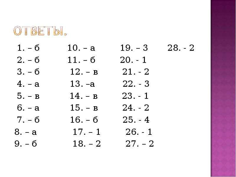 1. – б 10. – а 19. – 3 28. - 2 1. – б 10. – а 19. – 3 28. - 2 2. – б 11. – б 20. - 1 3. – б 12. – в