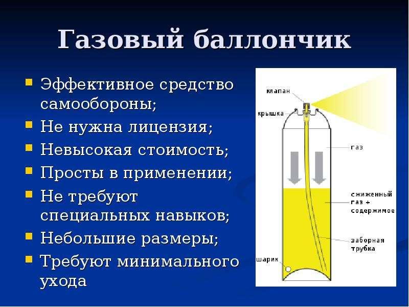 Газовый баллончик Эффективное средство самообороны; Не нужна лицензия; Невысокая стоимость; Просты в