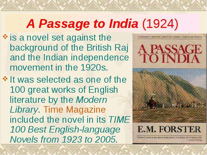 a character analysis of the novel a passage to india