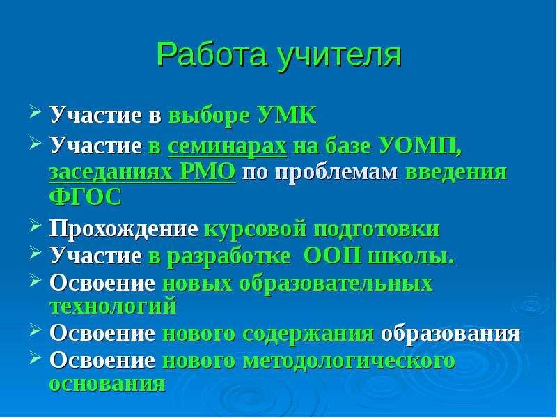 Работа учителя Участие в выборе УМК Участие в семинарах на базе УОМП, заседаниях РМО по проблемам вв