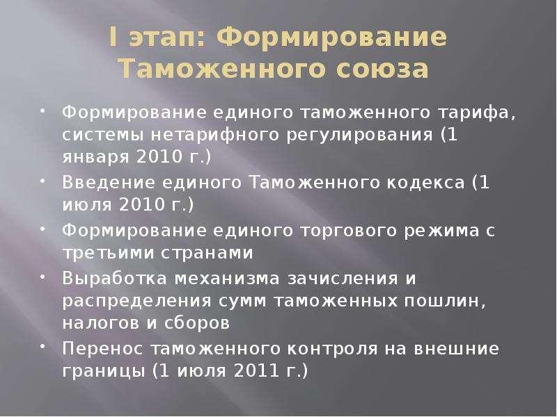 I этап: Формирование Таможенного союза Формирование единого таможенного тарифа, системы нетарифного