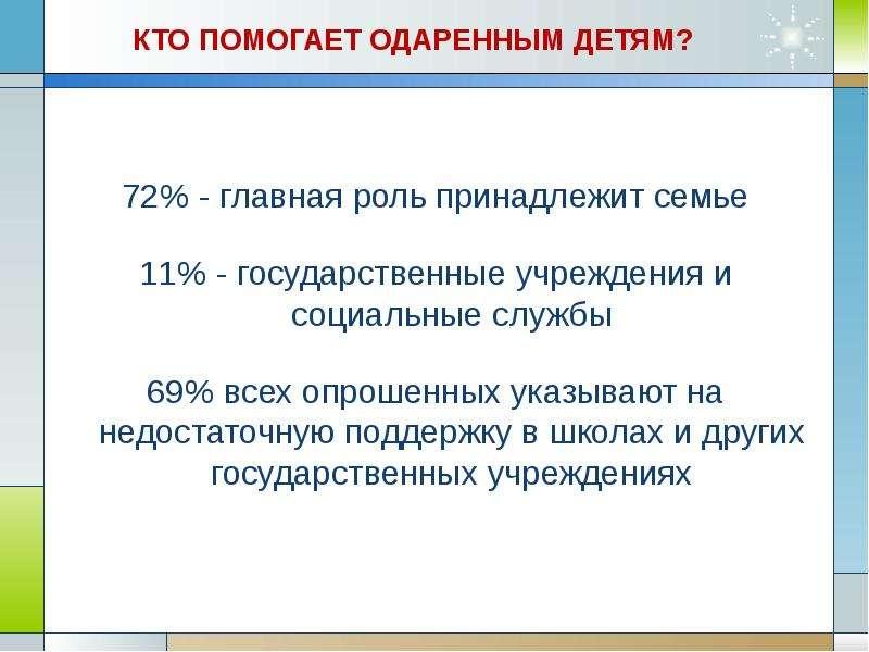 КТО ПОМОГАЕТ ОДАРЕННЫМ ДЕТЯМ? 72% - главная роль принадлежит семье 11% - государственные учреждения