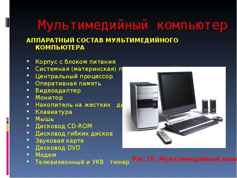 Мультимедийный компьютер АППАРАТНЫЙ СОСТАВ МУЛЬТИМЕДИЙНОГО КОМПЬЮТЕРА Корпус с блоком питания Систем