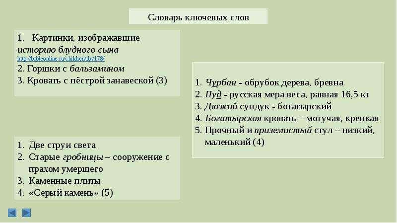 Словарь ключевых слов