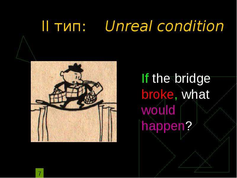 unreal conditional Real conditionals lesson plan in english, there are two kinds of conditionals: real conditionals and unreal conditionals we use conditionals all the time in english, so it's very important for your students to feel comfortable with them.