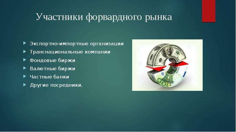 Участники форвардного рынка Экспортно-импортные организации Транснациональные компании Фондовые бирж