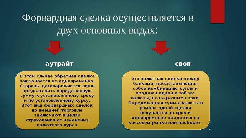 Форвардная сделка осуществляется в двух основных видах: аутрайт своп