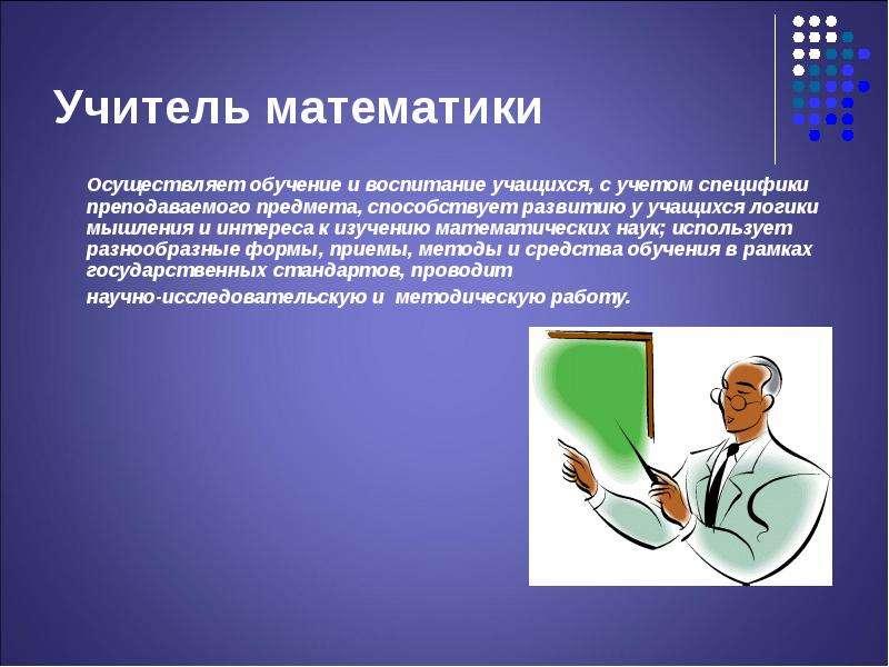 Учитель математики Осуществляет обучение и воспитание учащихся, с учетом специфики преподаваемого пр
