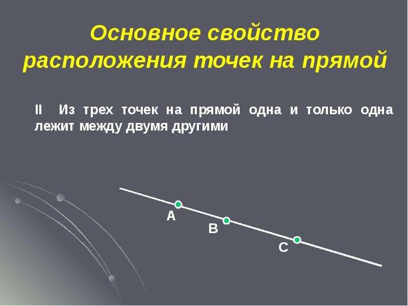 Основное свойство расположения точек на прямой