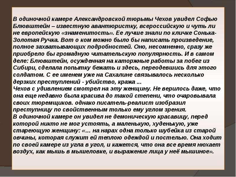 В одиночной камере Александровской тюрьмы Чехов увидел Софью Блювштейн – известную авантюристку, все