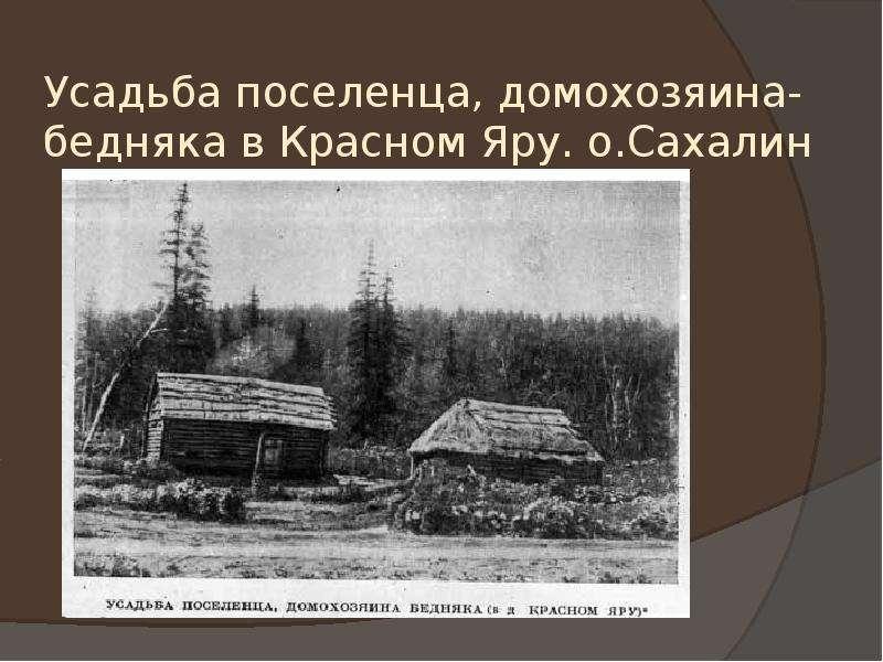 Усадьба поселенца, домохозяина-бедняка в Красном Яру. о. Сахалин