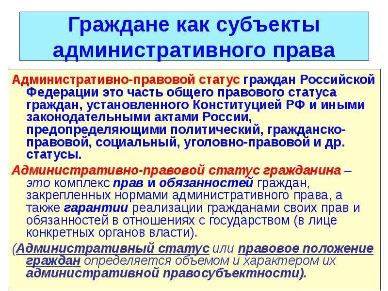 рф административно-правовой шпаргалка гражданина статус