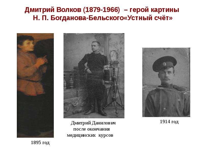 Дмитрий Волков (1879-1966) – герой картины Н. П. Богданова-Бельского«Устный счёт»