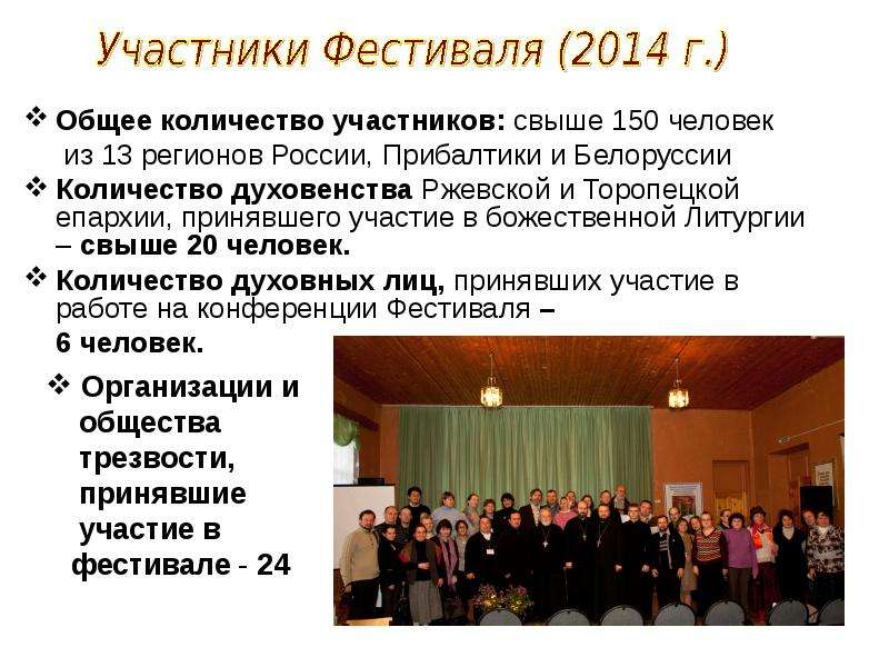 Общее количество участников: свыше 150 человек Общее количество участников: свыше 150 человек из 13
