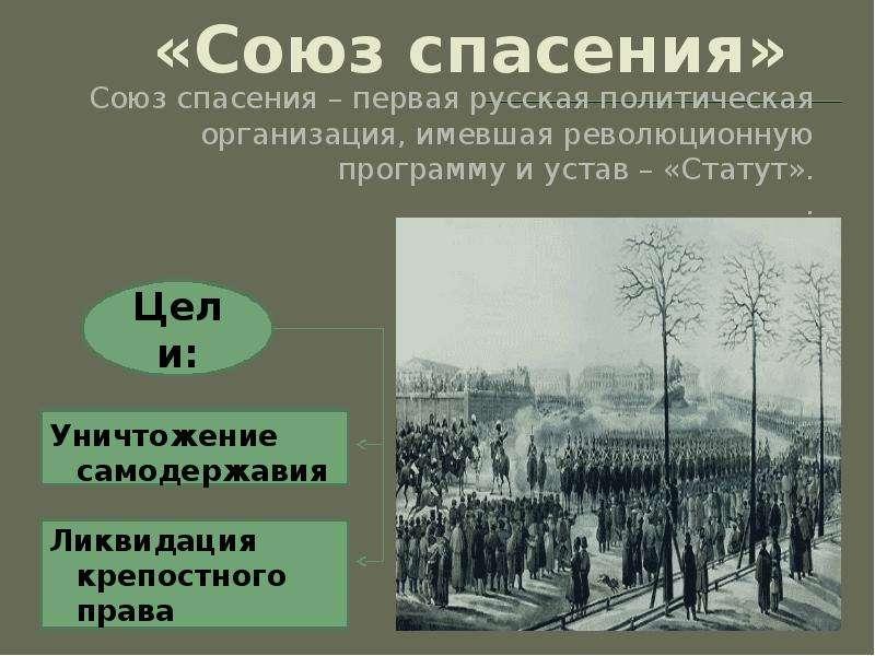 «Союз спасения» Союз спасения – первая русская политическая организация, имевшая революционную прогр
