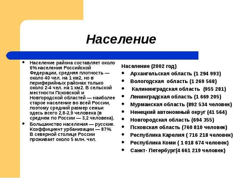 Население района составляет около 6% населения Российской Федерации, средняя плотность — около 40 че