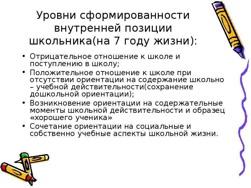 Уровни сформированности внутренней позиции школьника(на 7 году жизни): Отрицательное отношение к шко