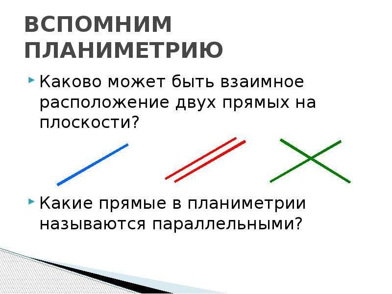 ВСПОМНИМ ПЛАНИМЕТРИЮ Каково может быть взаимное расположение двух прямых на плоскости? Какие прямые