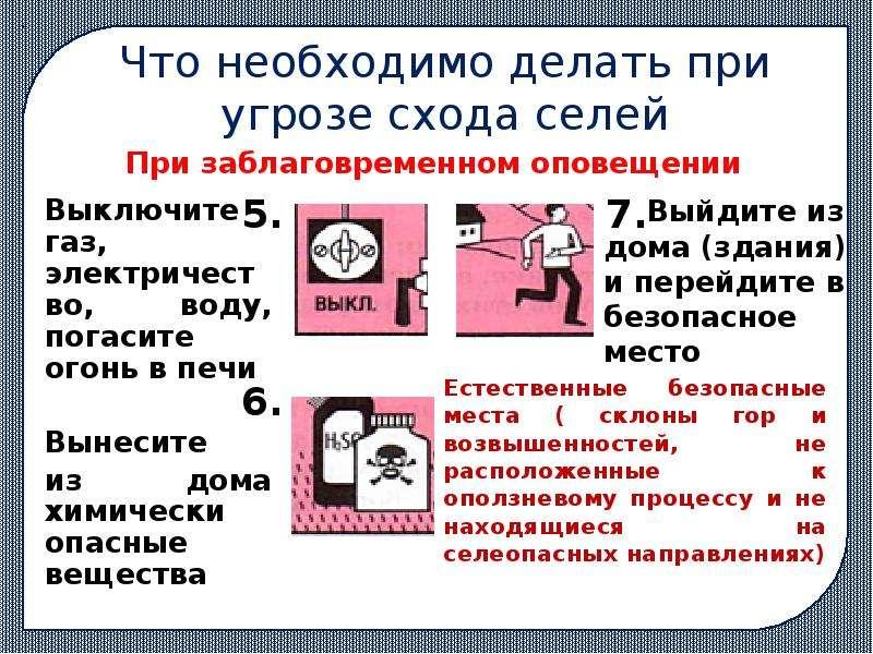 Что необходимо делать при угрозе схода селей Выключите газ, электричество, воду, погасите огонь в пе