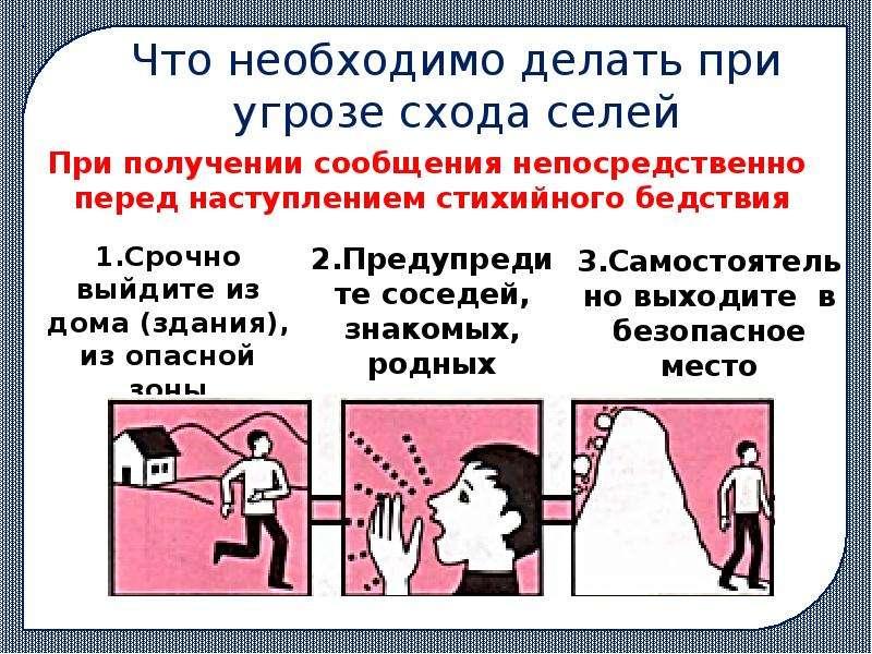 Что необходимо делать при угрозе схода селей 1. Срочно выйдите из дома (здания), из опасной зоны