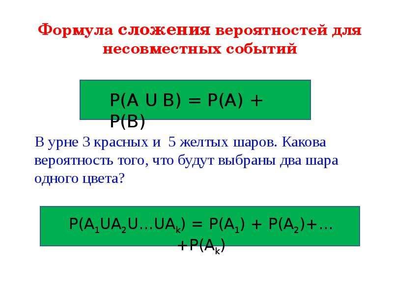 Формула сложения вероятностей для несовместных событий