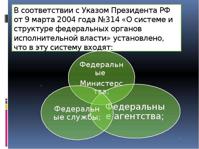В соответствии с Указом Президента РФ от 9 марта 2004 года №314 «О системе и структуре федеральных о