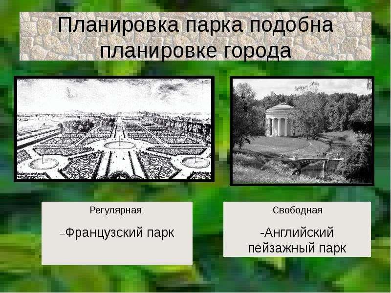 Планировка парка подобна планировке города