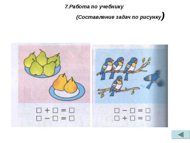 Составление и решение задач по рисунку