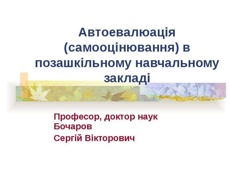 Автоевалюація (самооцінювання) в позашкільному навчальному закладі Професор, доктор наук Бочаров Сергій Вікторович