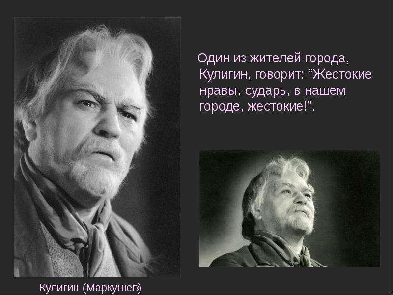 """Один из жителей города, Кулигин, говорит: """"Жестокие нравы, сударь, в нашем городе, жестокие!"""". Один"""